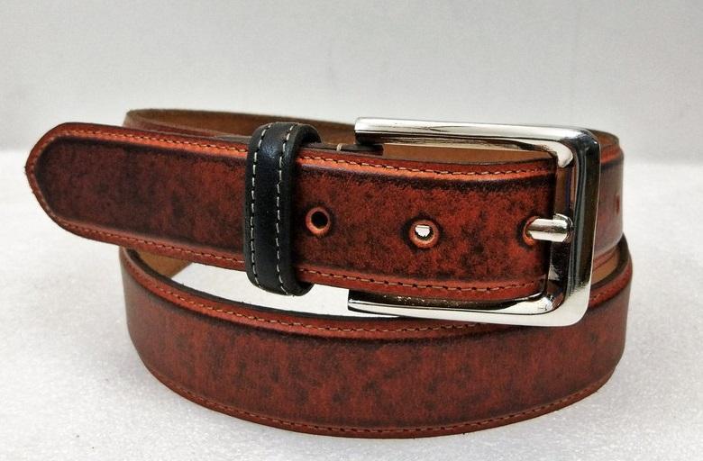 Leather Belt 07 - Matte Cognac Patchy black Men's Leather Belt with contrast Loop