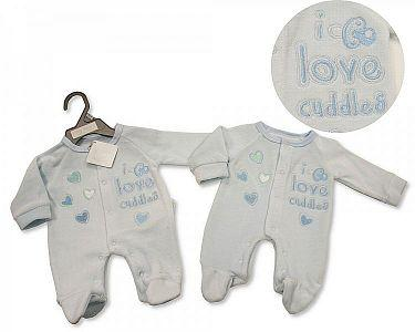 Premature Baby Boys Velour All in One - I Love Cuddles -