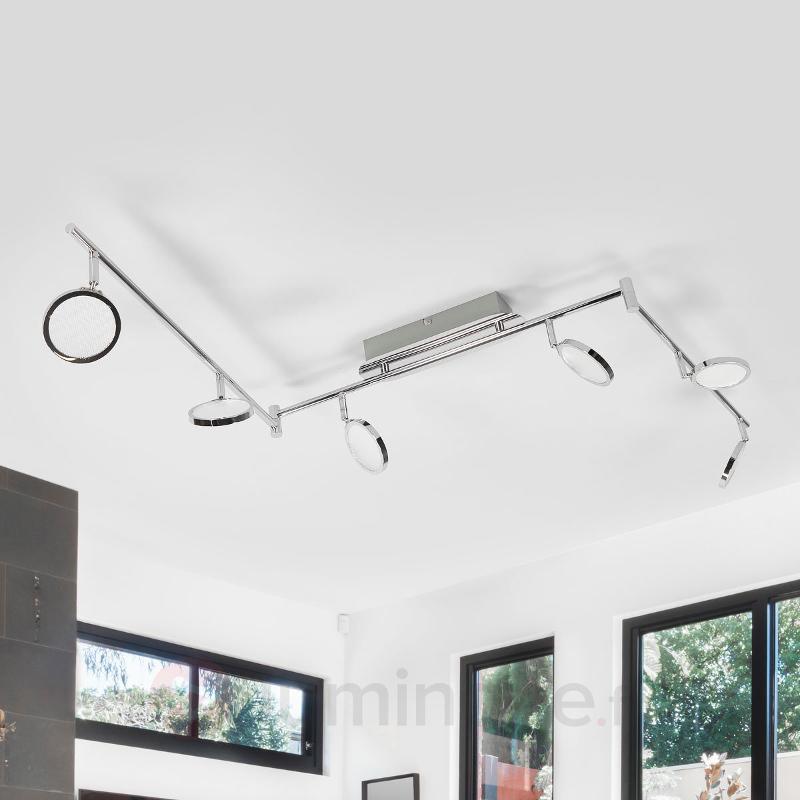 Plafonnier LED chromé Hazel à six lampes - Plafonniers LED