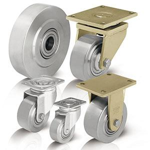 Extra heavy duty solid steel wheels and castors -