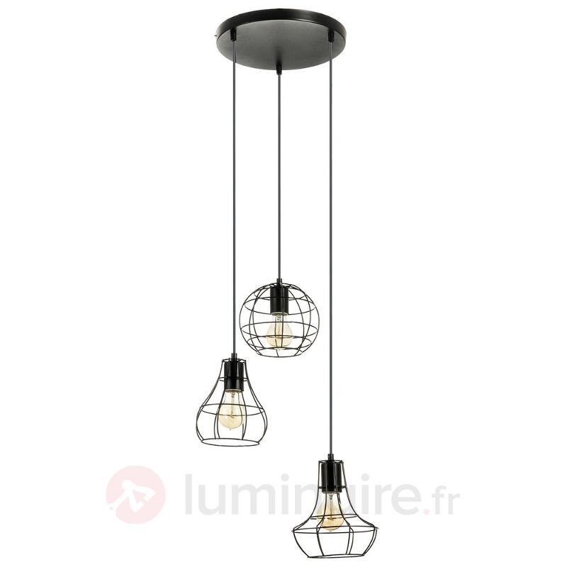 Suspension Outline à 3 lampes, design industriel - Cuisine et salle à manger