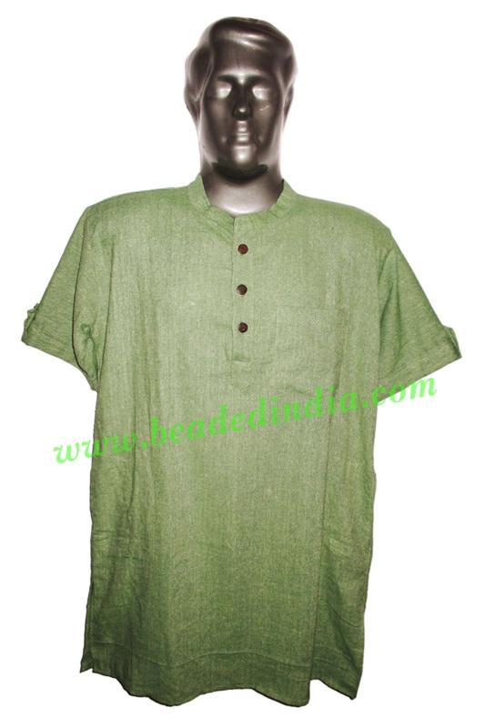 half sleeve long khadi yoga kurta, size : chest 48 x height  - half sleeve long khadi yoga kurta, size : chest 48 x height 34 inches (large).