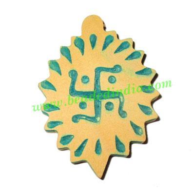 Handmade wooden swastik pendants, size : 52x37x5mm - Handmade wooden swastik pendants, size : 52x37x5mm