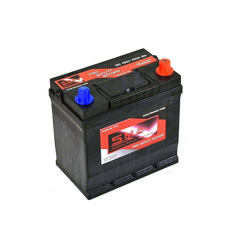 Batteria per avviamento auto asiatiche 45 ah, 12 volt - Produzione italiana batterie autoveicoli, Made in Italy