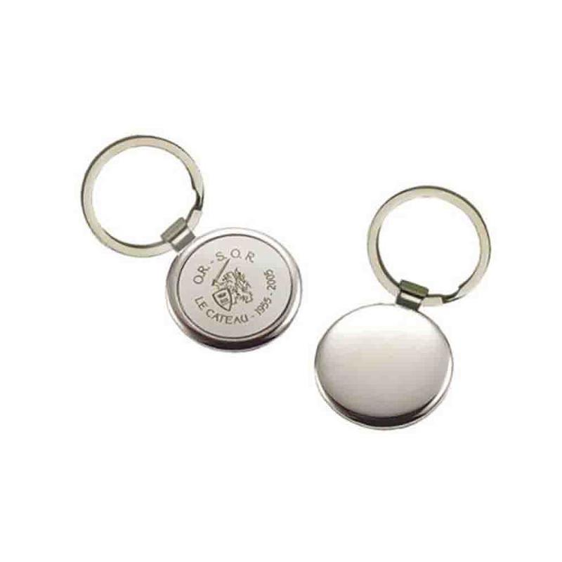 Porte-clés métal rond argent - Porte-clés métal