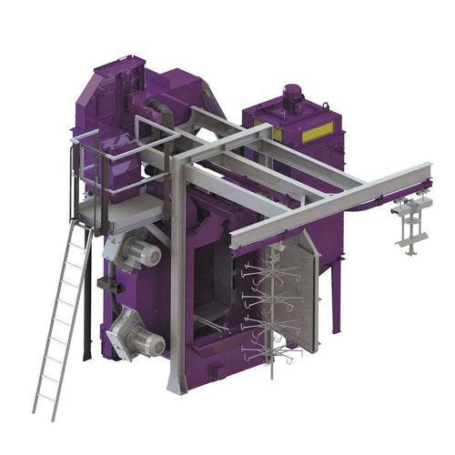 Continuous overhead rail shot blast machine - Continuous overhead rail shot blast machine to remove rust, scale, sand, burrs