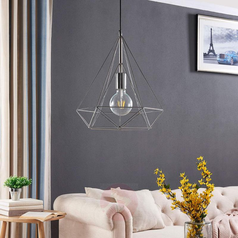 Chrome-plated pendant light Nael in cage shape - indoor-lighting