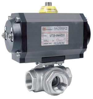 Actuated Ball Valve - 3 Way Stainless Steel Ball Valve with Double Acting Pneumatic ActuatorLV6002