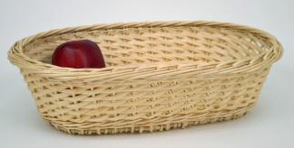 Corbeille ovale osier blanc  - L.32