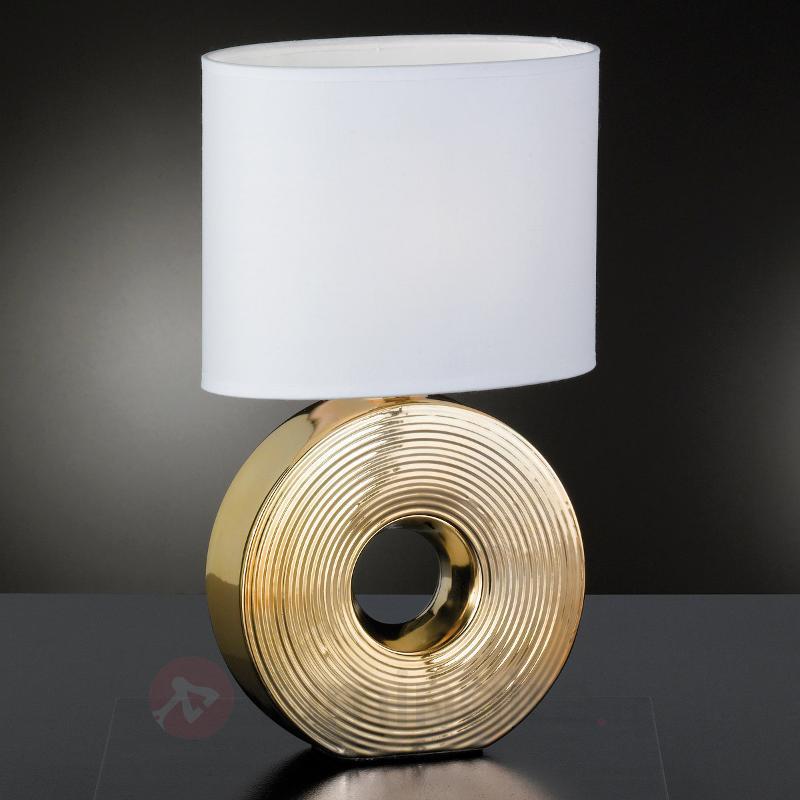 Lampe à poser Eye 38 cm avec pied en céramique - Lampes à poser en tissu