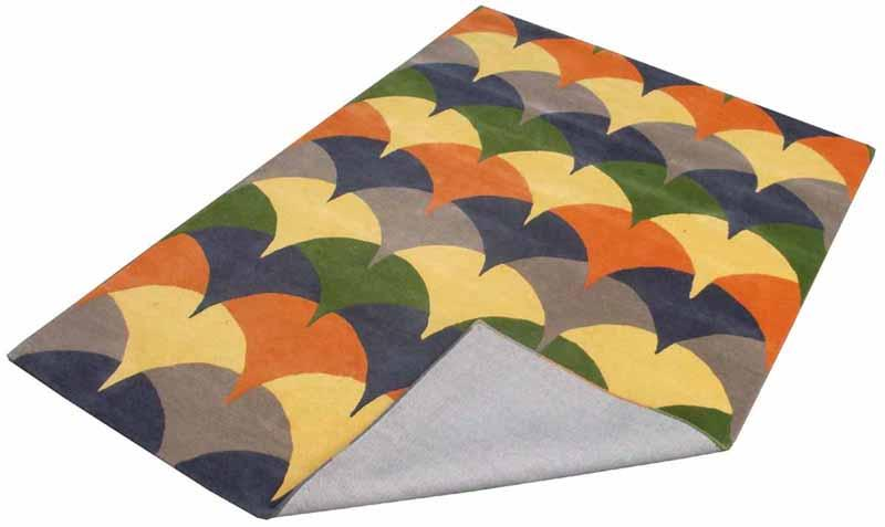 Hand Tufted Rugs; Latexed back with cotton cloth backing - NT-002, Modern design, Green/ Gold, Wool Rugs and Carpets