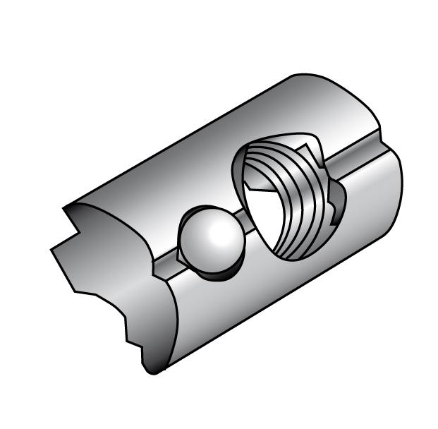 T-slot nuts, self aligning with spring ball - Material A2 | Aluminium