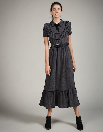 Victoria - Mακρύ πλεκτό φόρεμα με γιακά