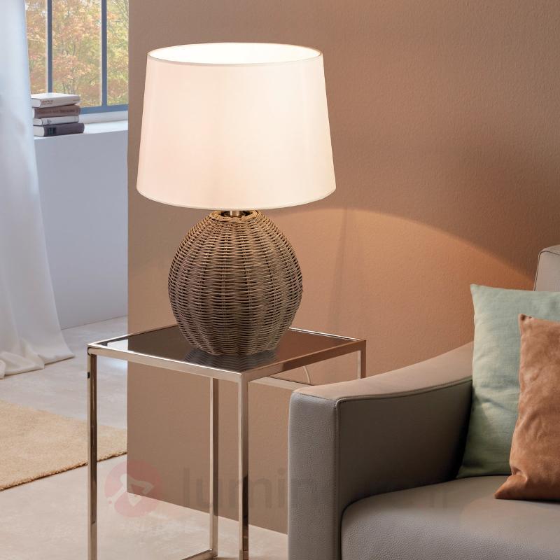 Roia - lampe à poser textile avec pied tressé - Lampes à poser en tissu