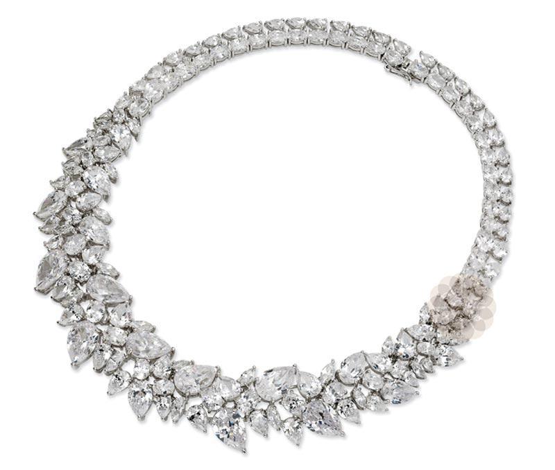Fancy Sterling Silver Choker Necklace -