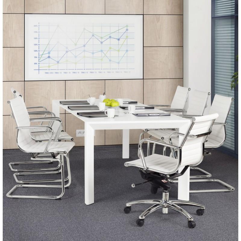 Fauteuil de bureau rotatif COURIS en polyuréthane (blanc) - Fauteuil de bureau Couris d'une conception minimaliste et fonctionnelle.