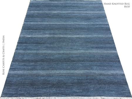 Hand Knotted Contemporary Pile Rug in Wool & Viscose - Hand Knotted Contemporary Style Carpet in Wool & Viscose Silk Pile in size 8x10