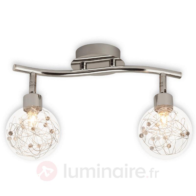 Plafonnier Joya à deux lampes - Plafonniers chromés/nickel/inox