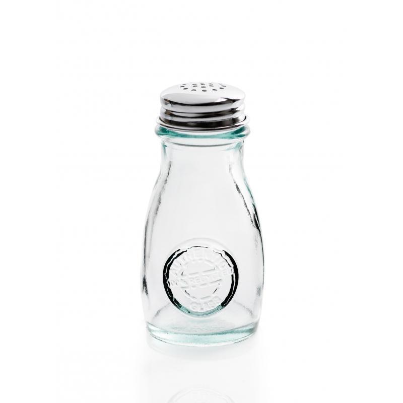 Salière et Poivrier en verre recyclé avec couvercle troué en inox