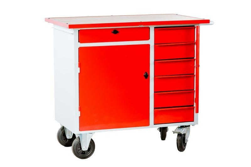 Metal trolley with a cabinet and drawers locked with a padlock. - null