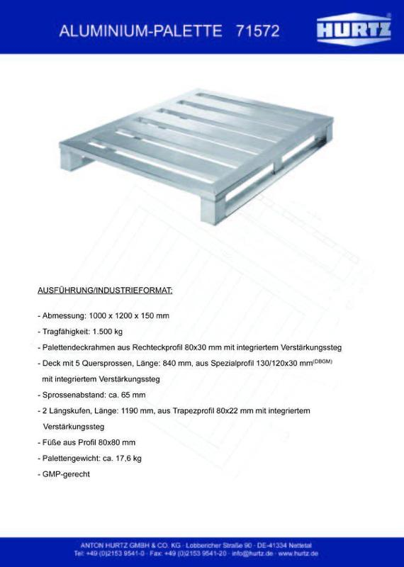 Typ 71572 - Hurtz Aluminiumpaletten - Industrieformat