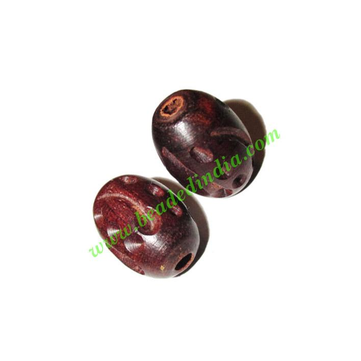 Rosewood Beads, Handcrafted designs, size 13x18mm, weight ap - Rosewood Beads, Handcrafted designs, size 13x18mm, weight approx 2.26 grams