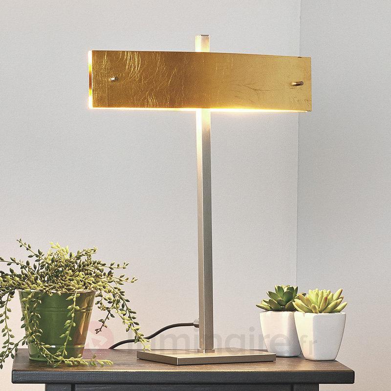 Lampe à poser LED Malu avec abat-jour doré - Lampes à poser LED