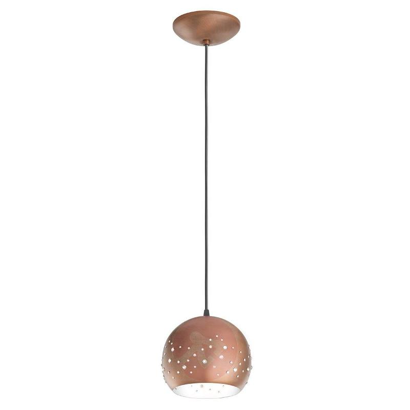 Inlay exclusive Swarovski hanging light in copper - Pendant Lighting