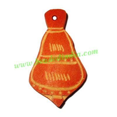 Handmade wooden fancy pendants, size : 47x26x6mm - Handmade wooden fancy pendants, size : 47x26x6mm