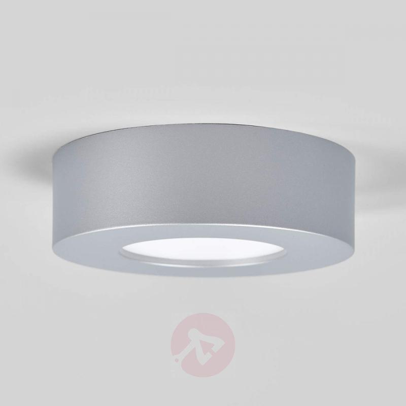 Round LED damp room ceiling lamp Marlo, silver - indoor-lighting