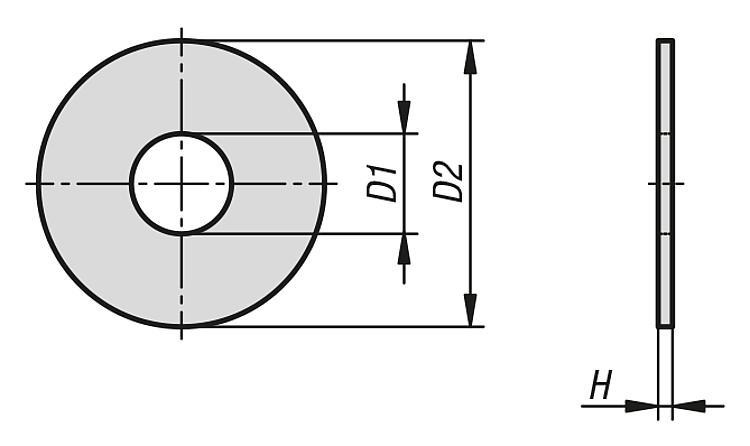 Rondelles de grand diamètre extérieur DIN 9021 - Éléments de liaison