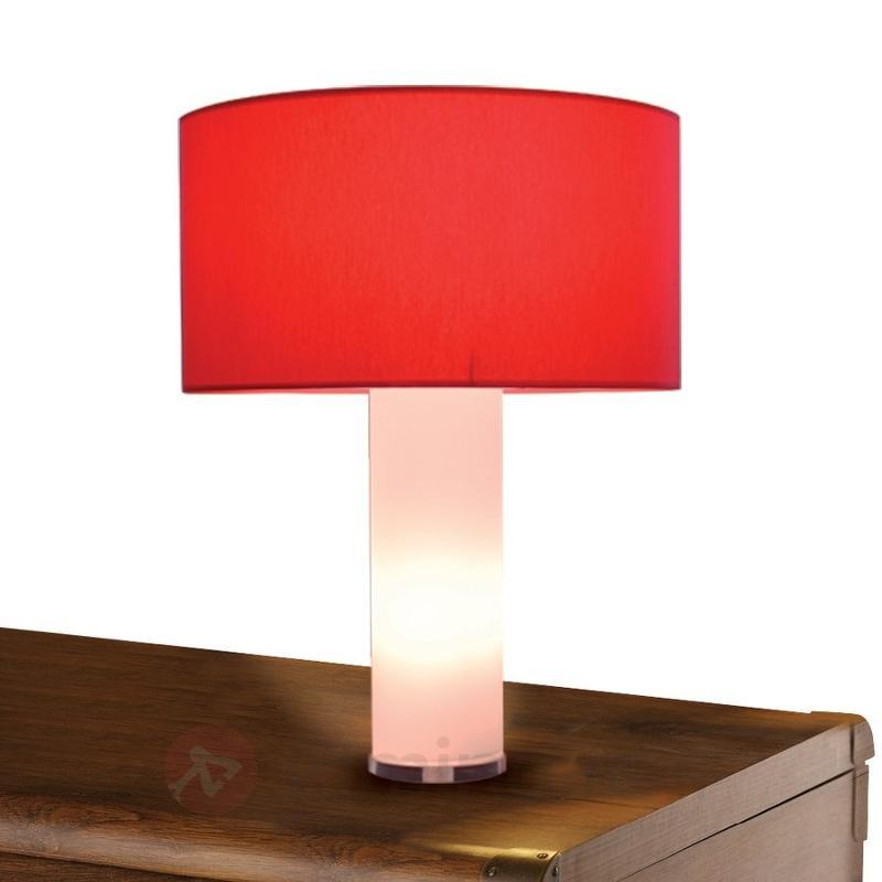 Lampe à poser DOMINIKA rouge blanc - Lampes à poser en tissu