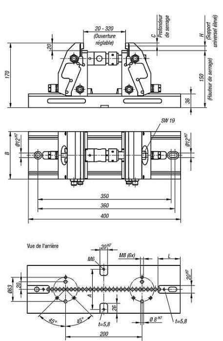 Étau de bridage 5 axes compact - mors de serrage lisse