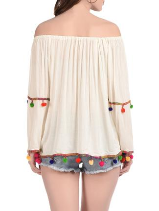 Off-shoulder Rayon Embroidery Top with Pom Pom  - Rayon Blouses   Tops   Casual Cotton Tops with Drawstring