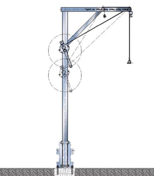 Gru a braccio girevole di alluminio 160 kg - Gru a braccio girevole di alluminio, carico max. 160 kg, sbraccio 600 - 1000 mm