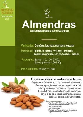 Almendras - Comúna, largueta, marcona y guara.