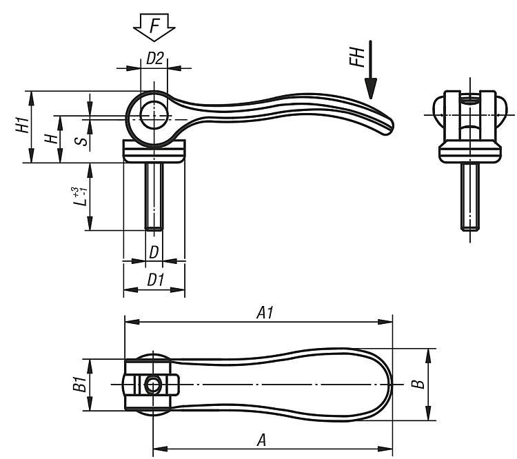 Cam levers internal and external thread, stainless steel - Cam clamps
