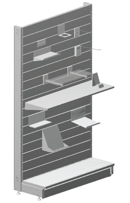 Modular shop rack systems & instore interior shelving design - Slat panels and alternative back panel system + accessories