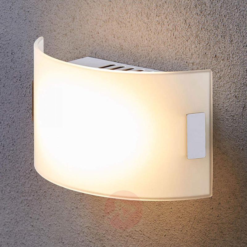 White glass wall light Gisela with LED bulbs - indoor-lighting