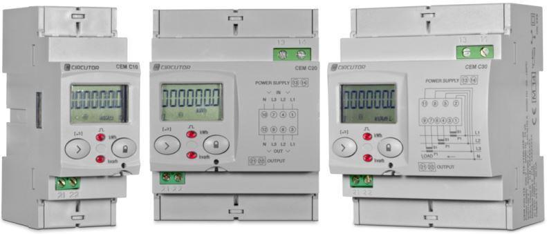 CEM-C10,C20 et C30 - Compteurs d'énergie divisionnaires - Gamme de compteurs d'énergie monophasé direct et triphasé direct et indirect
