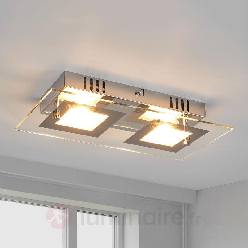 Manja - plafonnier LED à deux lampes chromé - Plafonniers LED