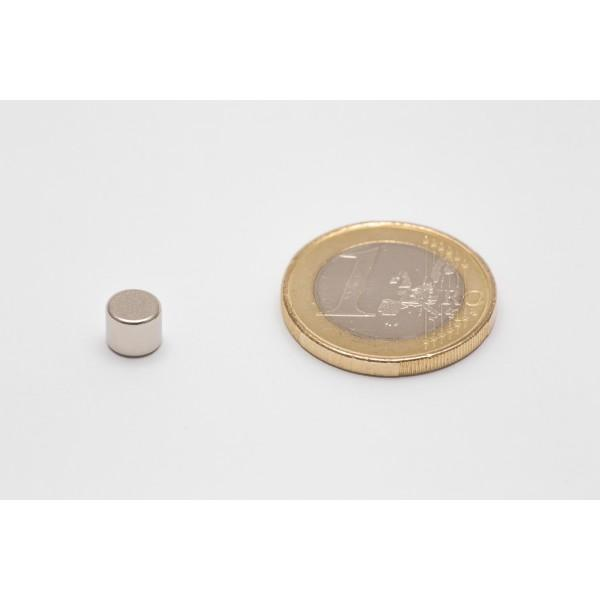 Neodymium disc magnet 6x5mm, N45, Ni-Cu-Ni, Nickel coated - Disc