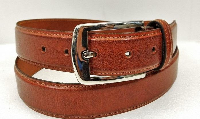 Leather Belt 02 - Full Grain Leather Dress Belt in Brown Colour