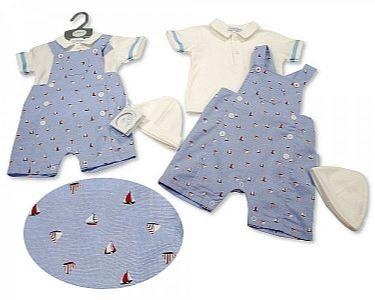 Baby Boys Dungaree Set with Hat - Sailing -