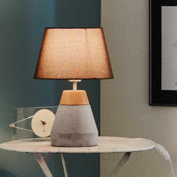 Lampe de table textile Tarega avec pied en béton - Lampes à poser en tissu