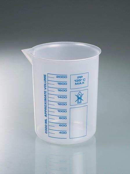 Laboratory beakers/Griffin beakers, PP - Plastic beaker, PP, highly transparent, measuring device, laboratory equipment