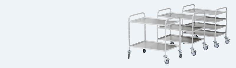 Serving trolleys - with stainless steel trays