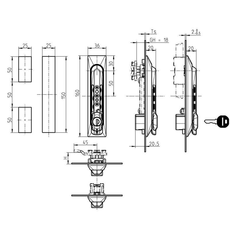 Maneta giratoria 1155 - con embellecedor universal y con combinación numerica