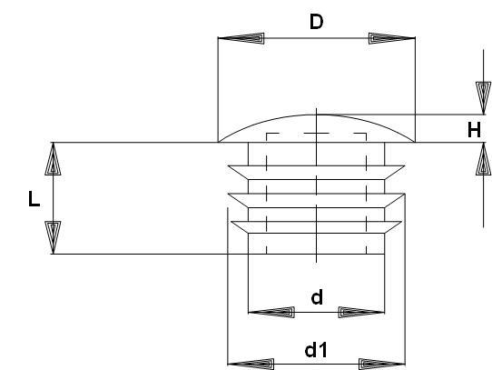 N251 - Embouts ronds bombés à ailettes - Pièces de finition