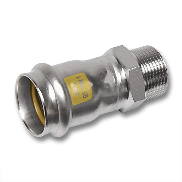 Edelstahl-Rohrleitungssystem NiroSan® Gas, Übergangsnippel - NiroSan® Gas Übergangsnippel mit Pressanschluss und Außengewinde